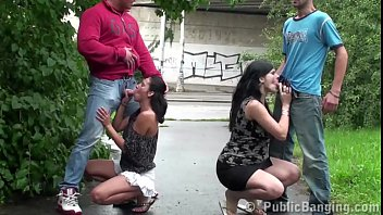 PUBLIC street orgy with a pregnant girl