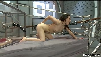 Brunette gangbang fucked by machines