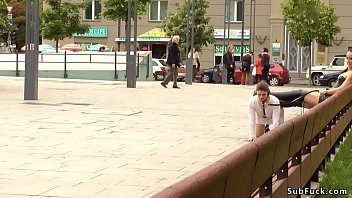 Mistress makes her slave dp fuck in public