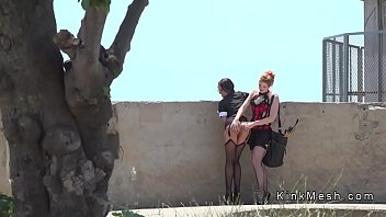 Brunette in stockings spanked outdoor
