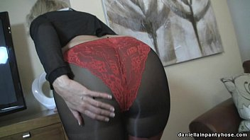 Sexy ass wife in seamed pantyhose & panty