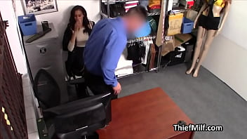 Caramel skinned MILF gags on officers cock