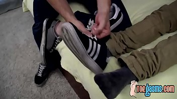 Deviant twinkie Roman loves sucking Dustin Fitchs toes