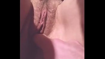 My wifes hairry pussy - Hidden camera close to pussy. unaware wife