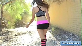 Young sexy teen amateur Brielle finger fuck her juicy tight ass after going for a nice jog