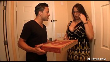 Huge cock tug job Busty milf jerking off the pizza boy