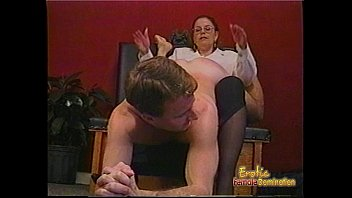Spanking images femdom - Kinky dude receives some hardcore spanking from a bespectacled slag