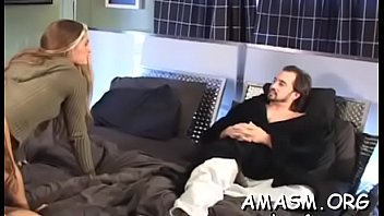 Breasty non-professional wife dominates hubby on home camera