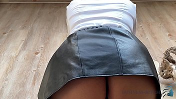 secretary in sexy leather skirt kneels in front of her boss wanting to get his hot cock milk