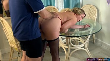 Stepmom caught masturbating at the table gets real cock inside her