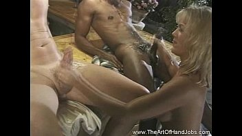 Male jack off clubs - Double handjob time for amateur babe