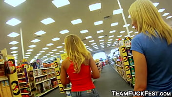 Stunning Blonde Pornstars Pick Up Random Guys In The Store