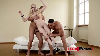 Human BDSM Sex Doll Lola Taylor's Hairy Pink Banged And Filled By Two Studs GP113