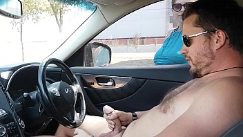 Hot milf caught him masturbating right in the car and help him to cum well