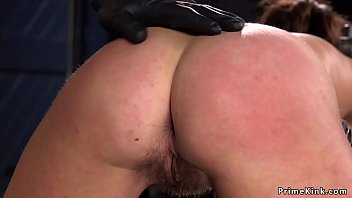 Hairy gagged brunette hard ass whipped