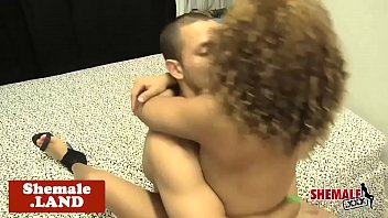 Ebony shemale anally banged after foreplay