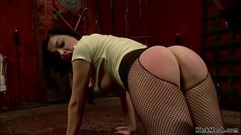 Hot blonde lezdom Cherry Torn in latex and lingerie spanks and whips ass to lesbian slave Sovereign Syre in doggy style then toys her pussy in bondage