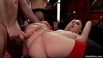 Alpha anal slave Mandy Muse takes charge of little newbie Kendall and both service to big dick of John Strong and anal fuck in the Upper Floor bdsm brunch party