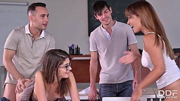 After-Sch00l Special When Students & Teacher Get Railed By 3 Studs