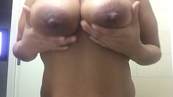 Horny milf plays & torture leaking tits