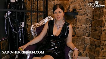 Shiny PVC mistress Lady Julina gives Poppers JOI for the dirty wanker slave