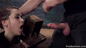 Sub trainee gets mouth and cunt banged