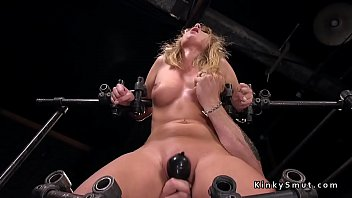 Bdsm device - Busty blonde in device bondage feet tormented