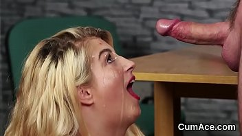 Sexy babe gets cumshot on her face gulping all the ejaculate