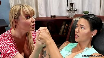 Lesbian blonde therapist seduces her brunette tattooed patient and plugs her ass then toys till gets anal fisting from her in office