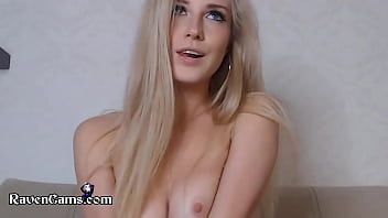 Busty Pale Blonde Pushing Vibrator Against Her Pussy Lips