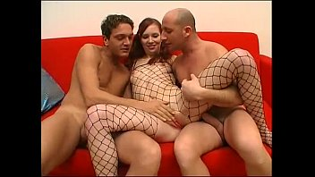 Threesome for this young bitch in a fishnet
