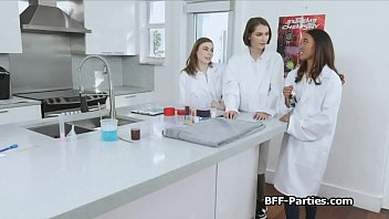 Three girlfriends sharing cock in lab coat