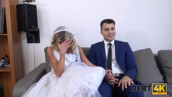 DEBT4k. Debt collector fucks the bride in a white dress and stockings