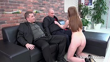 Piss Drinking - Threesome piss fuck for British redhead