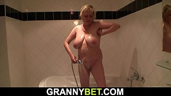 Busty blonde granny doggy-fuck