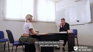 PORNO ACADEMIE - Hot school girl Lara Sins gives footjob and gets fucked deep