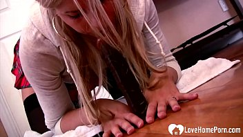 Horny stepsister in stockings uses a dildo