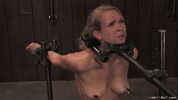 Bound in metal blonde trapped on Sybian