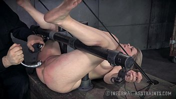 Latex restraints Sweet blonde begs for pain in bondage