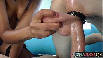 Ebony domina toying and pegging her subs ass