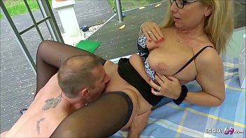 German Mature Wife Cheating Fuck in Garden with neighbour
