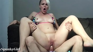 CoverSexy Blonde Fills Pussy with Dick with Cum on Asshole
