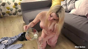 Streaming Video Mya Quinn mixing and drinking piss cocktail wearing anal plug - XLXX.video