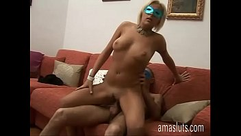 Sexy amateur blonde in black stockings banged well