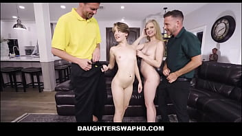 Petite Teen Step Daughters Harlow West & Dakota Burns Swap Fuck Their Dad's During Game Night