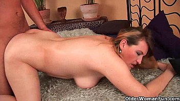 Big boobed mom enjoys his fist and cock in her mature pussy