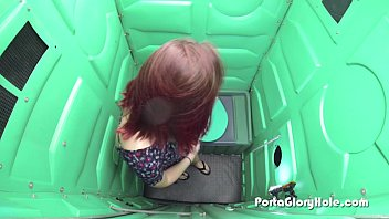 Potty voyeur Porta gloryhole redhead first time on camera