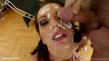 Queenie Gets Herself Covered In Cum After Bukkake Action On Cum For Cover