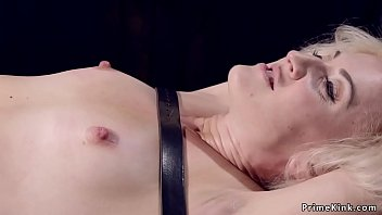Bound gagged blonde gets nipples suctioned