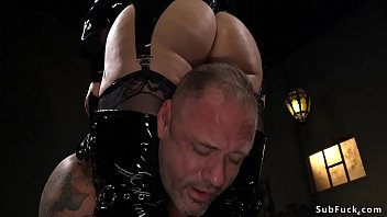 Blonde Milf dom in rubber lingerie torments guy